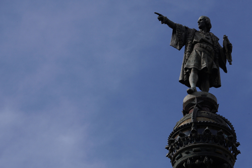 Christopher Columbus pointing towards his home of Genova, Italy